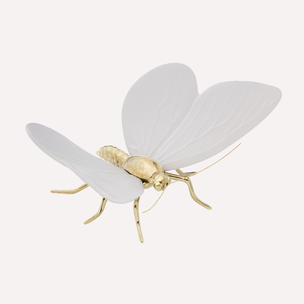 Figura Cerámica Mariposa MATE BLANCO LATON