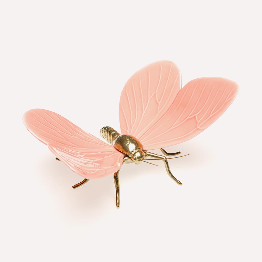Figura Cerámica Mariposa ESMALTE ROSA LATON