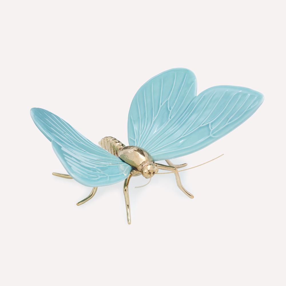 Figura Cerámica Mariposa ESMALTE AZUL SERENO LATON