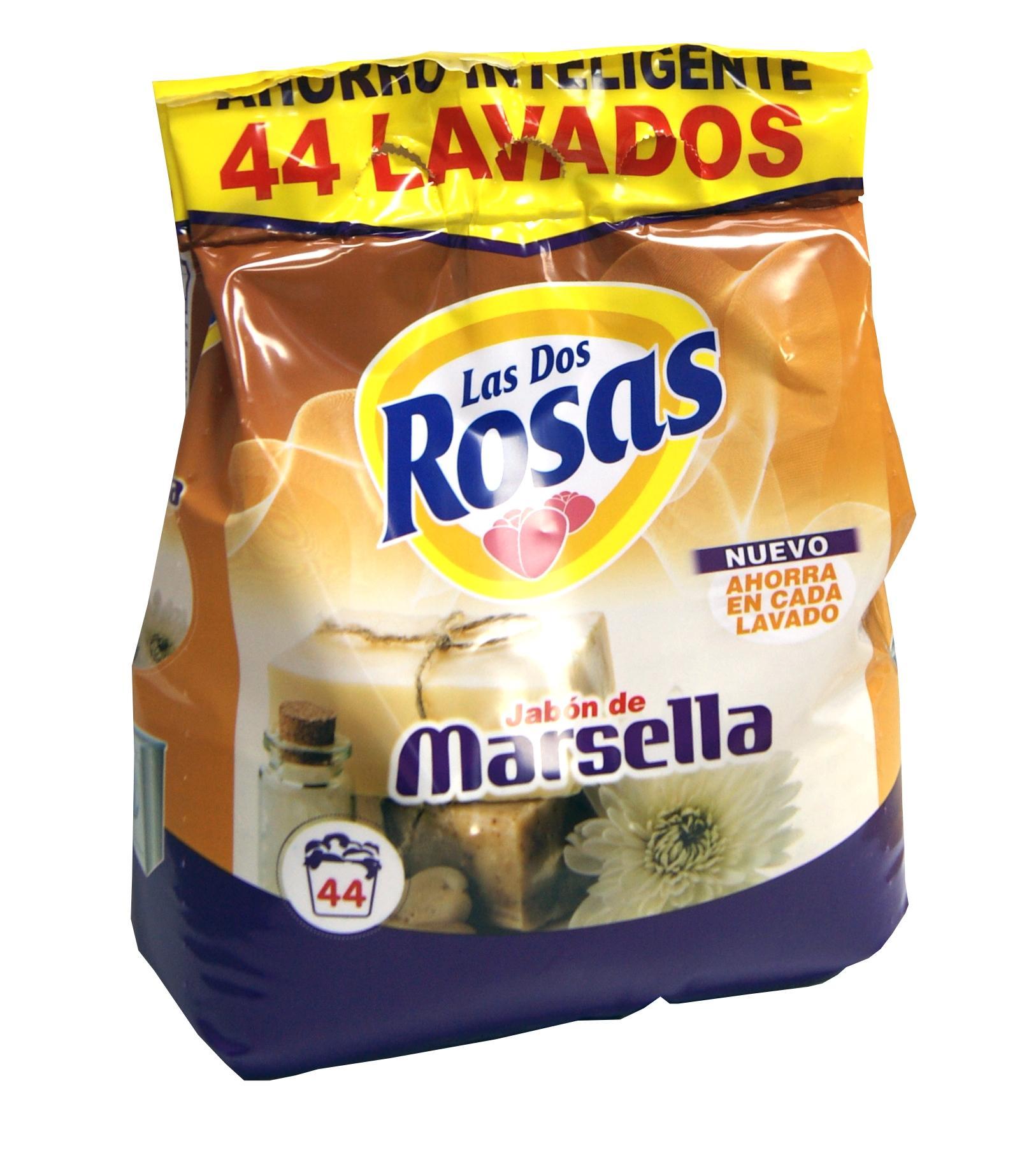 Las 2 Rosas Detergente Marsella 44d bolsa 3Kg