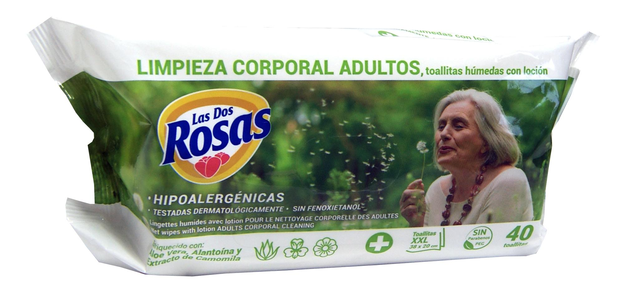 Las 2 Rosas Toallitas Corporales 40u