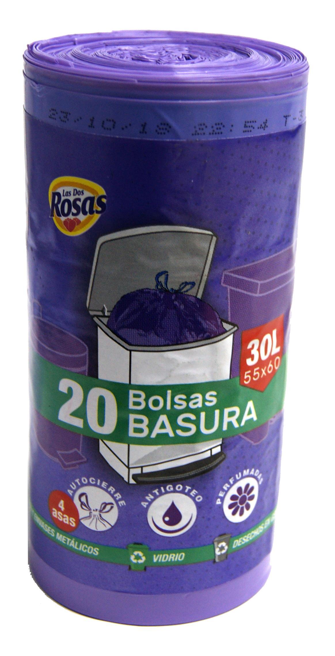Las 2 Rosas bolsa basura 30l morada 20u