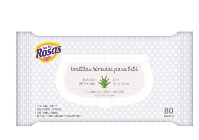Las 2 Rosas Toallitas Infantiles Premium  80u