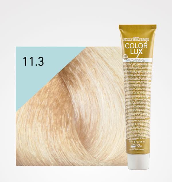 Color lux 11.3 Super Rubio Platino Dorado + Agua Oxigenada