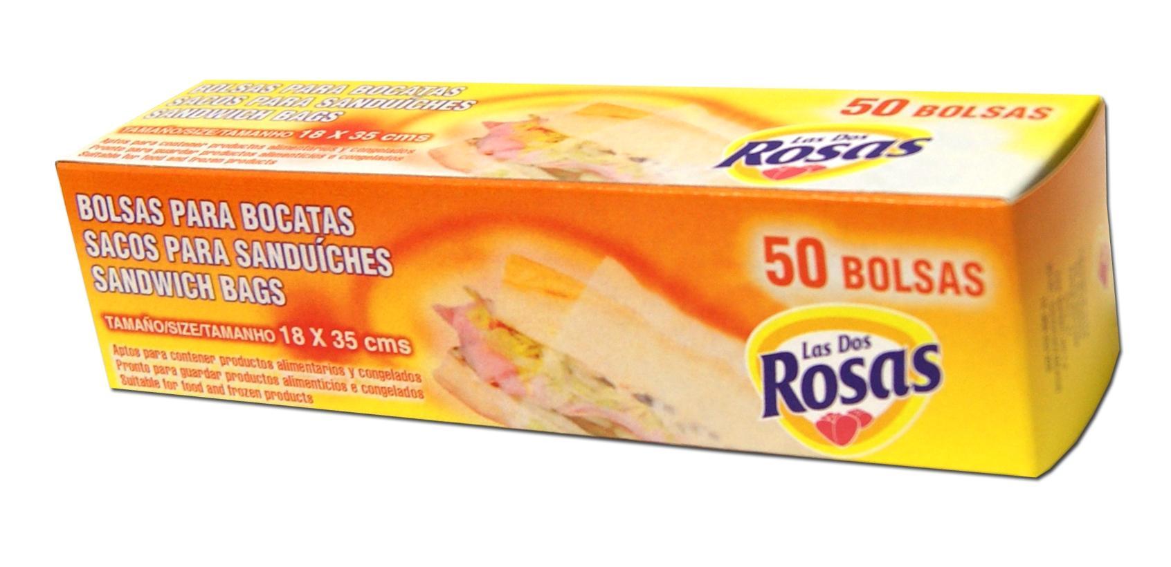 Las 2 Rosas Bolsas Bocadillo 50 unidades