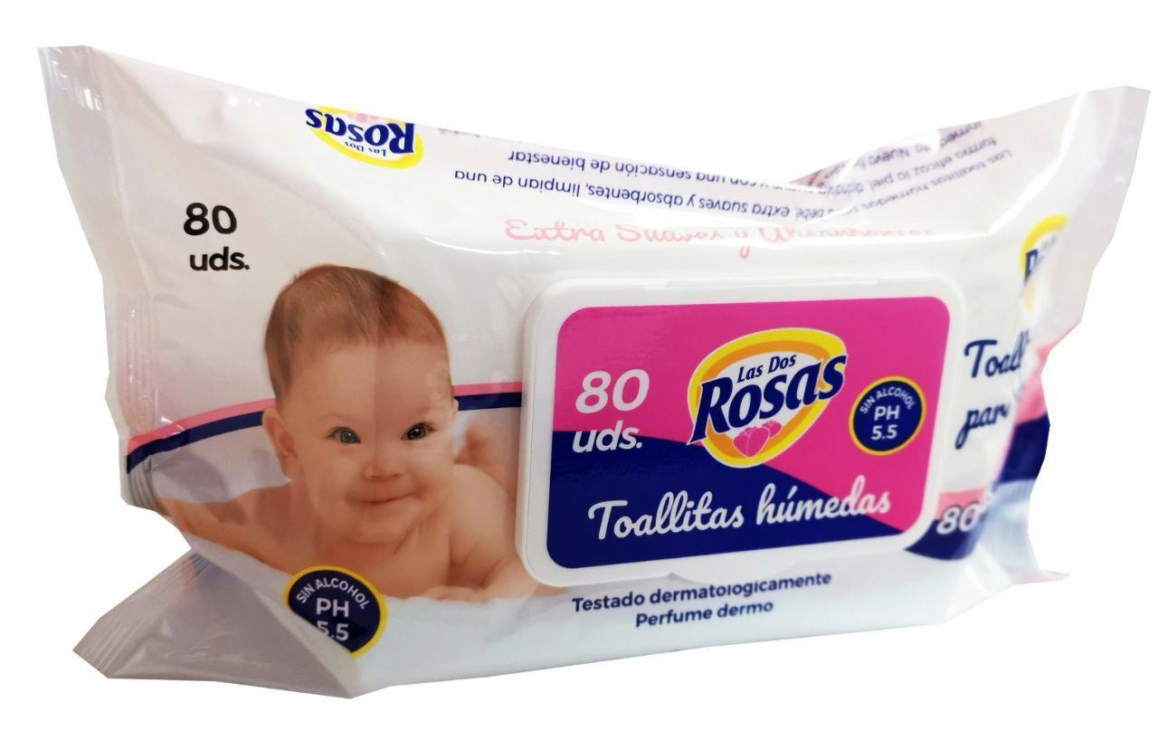 Las 2 Rosas Toallitas Infantiles c/ Tapa. 80u