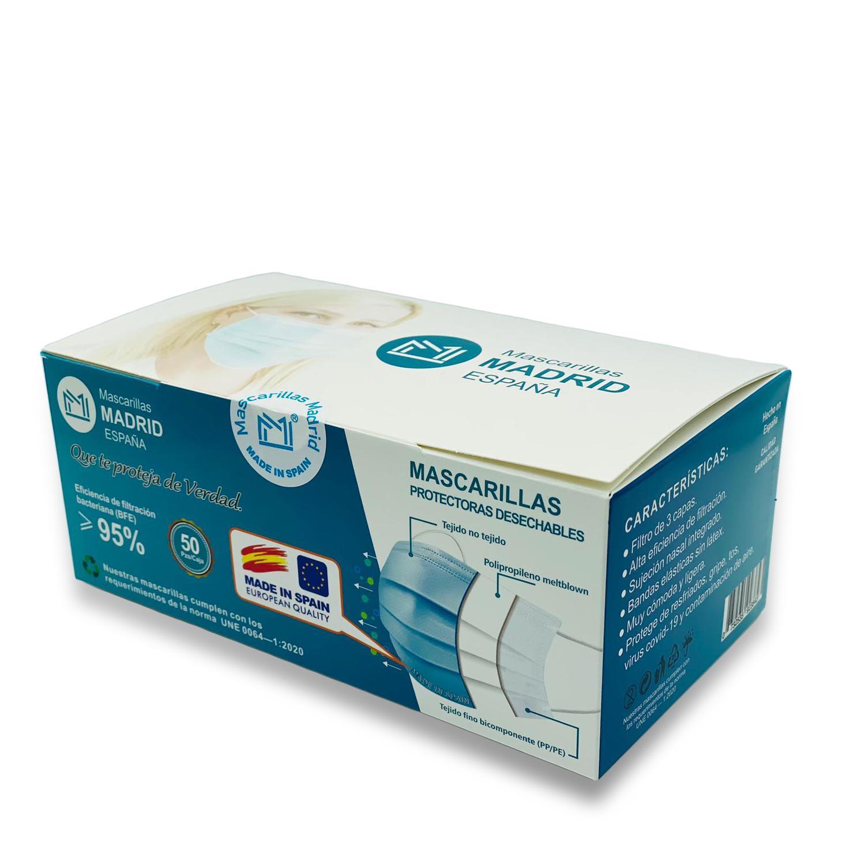 Mascarilla Higiénica Azul Caja 50u Desechable
