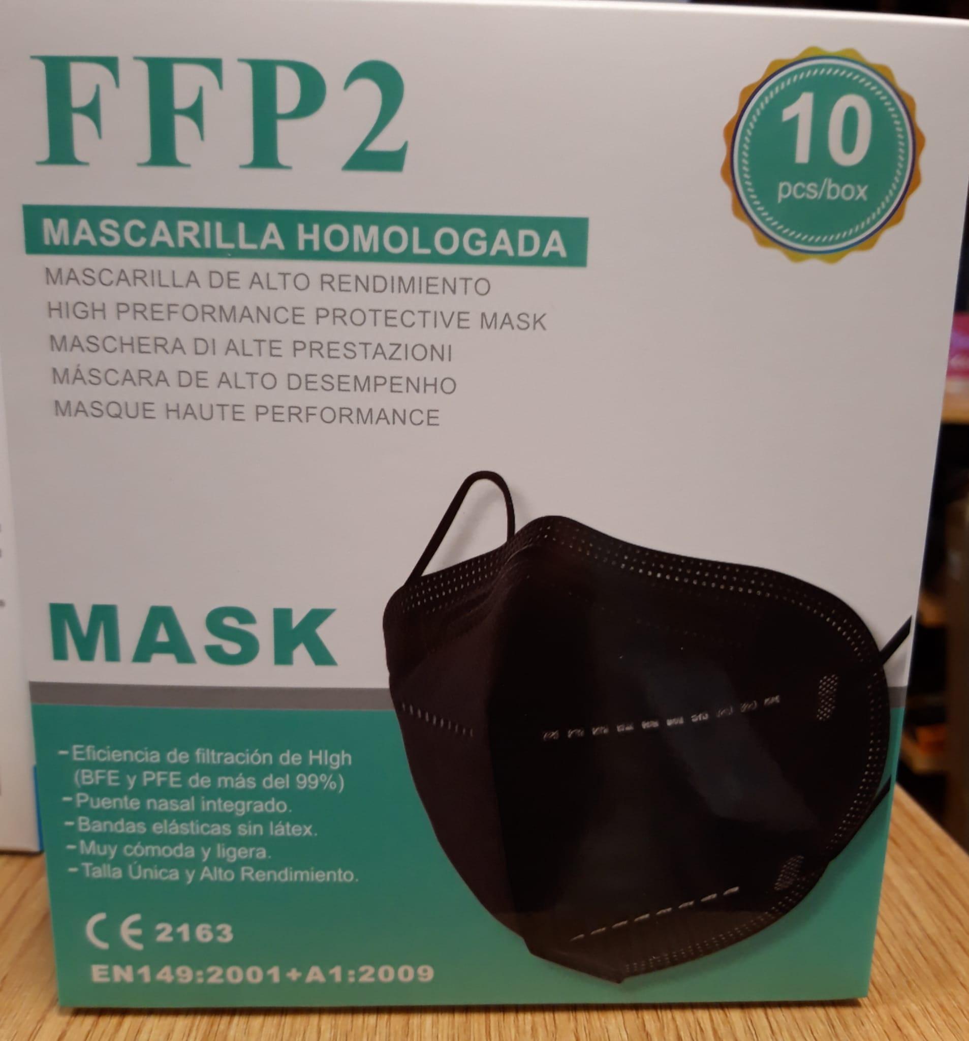 Mascarilla FFP2 Negra Pack 10 unidades