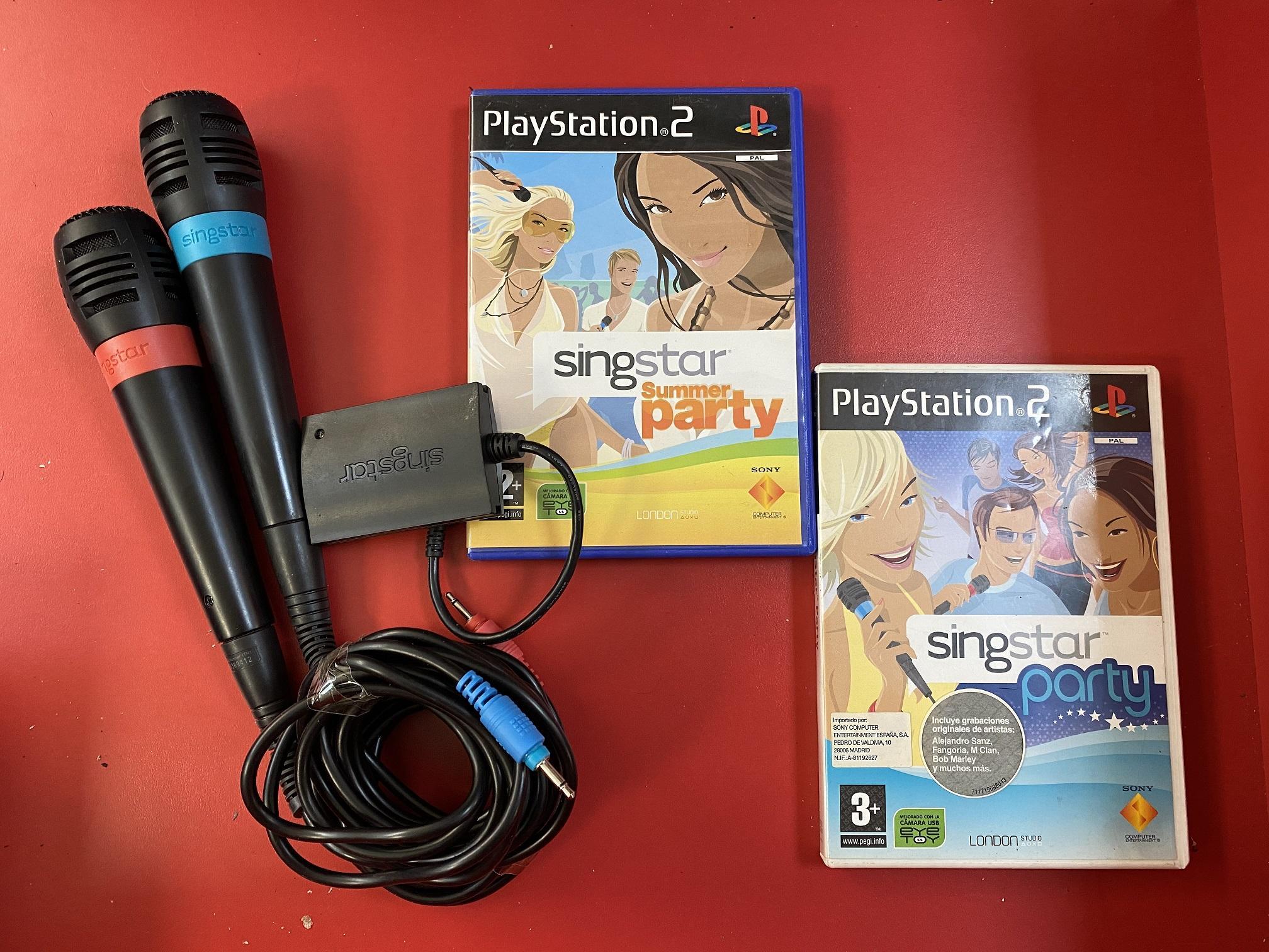 MICROFONOS SINGSTAR  CON CABLE CON JUEGOS - PS2/PS3 - SEMINUEVOS