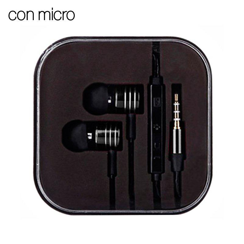Auriculares 3,5 mm Stereo Box Universal Metálico Negro