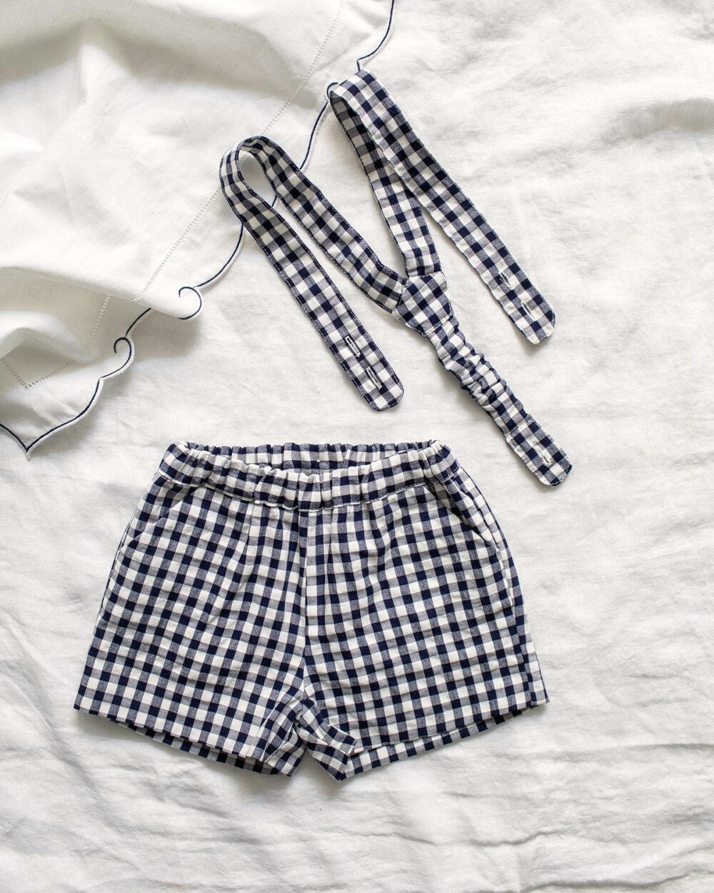Pantalon Corto Tirantes Vichy Marino de Mi Canesú