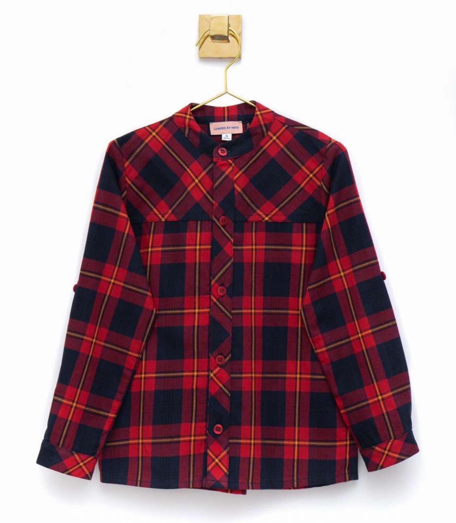 Camisa para niño mao tartán cuadro rojo de Lunares en Mayo