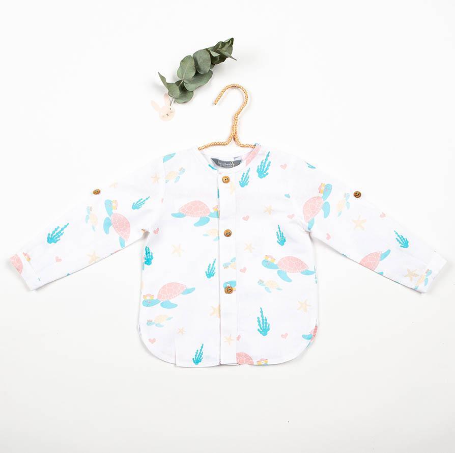 Camisa cuello Mao confeccionada en tejido exclusivo Tortugas Kids Chocolate