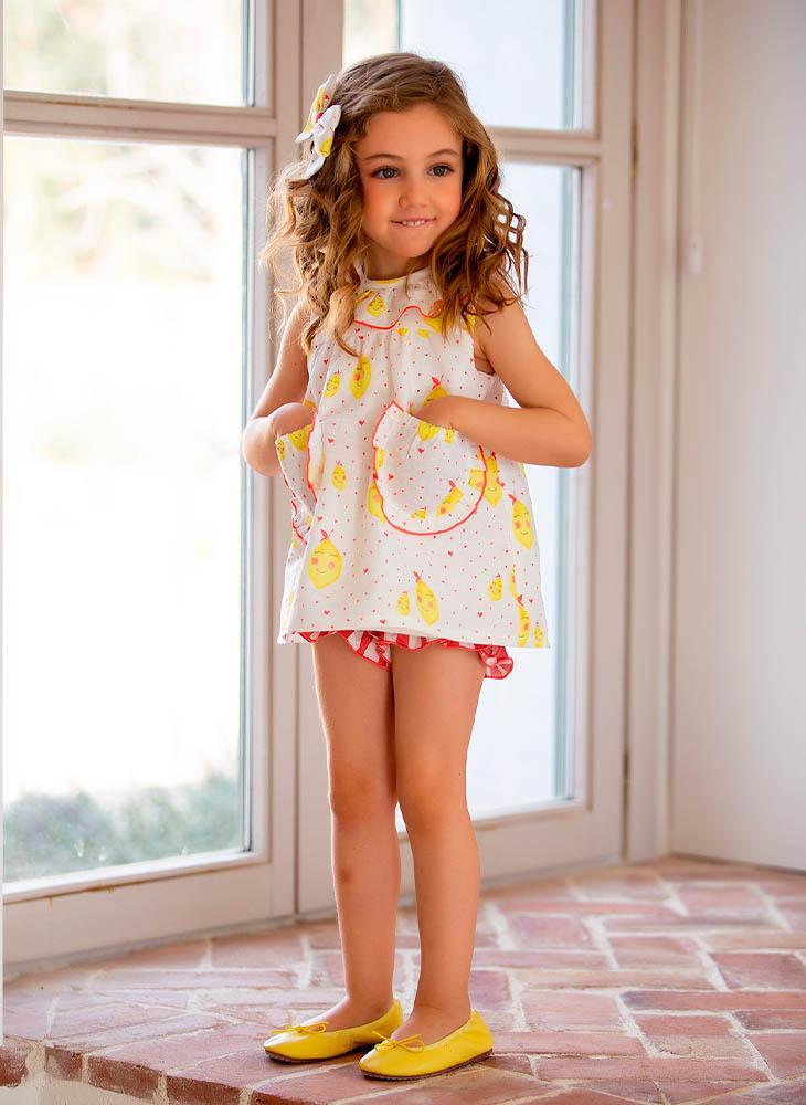 Jesusito con bolsillos y tejido de limones de Kids Chocolate