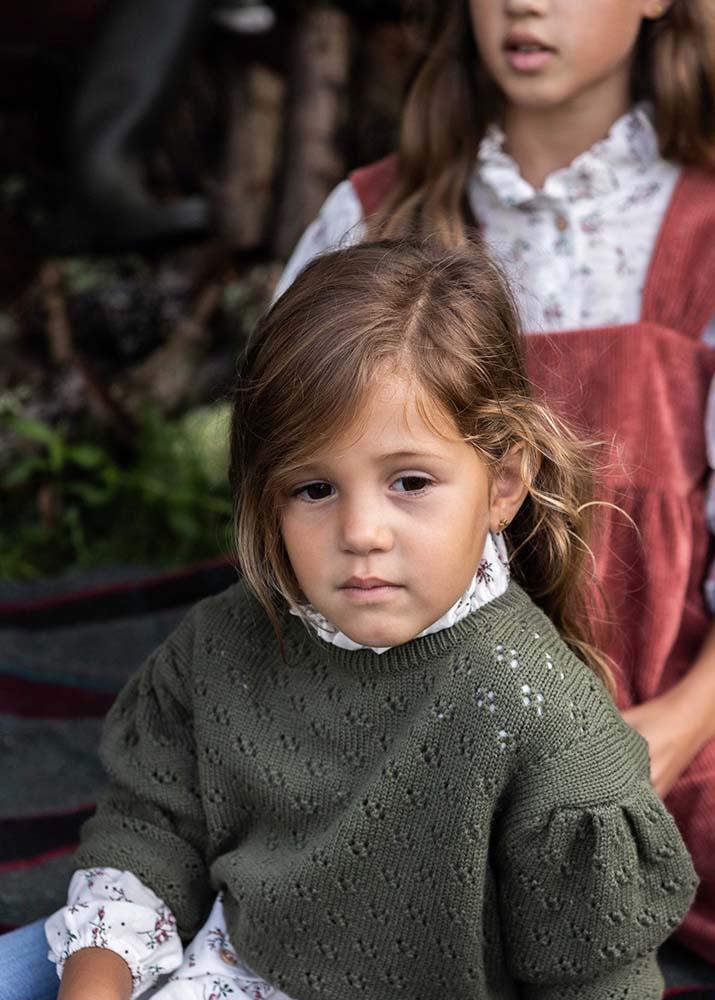 Jersey Infantil calado en color Kaki de Mia y Lia