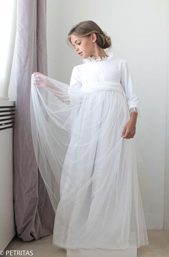 Vestido Comunión Plumetti blanco Tul cuellos y puños.