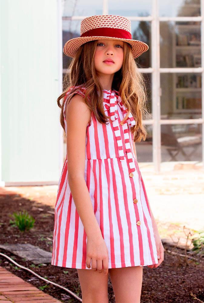 Vestido de rayas abotonado de Kids Chocolate