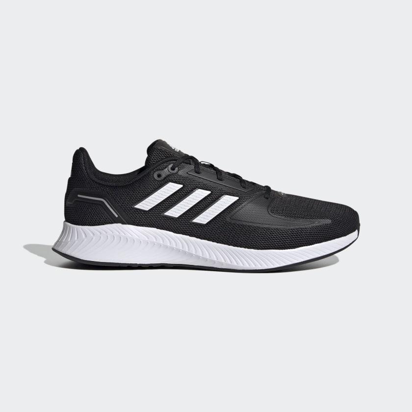 Zapatilla running adidas negra y blanca mod. Run Falcon, amortiguada, traspirable versatil deporte