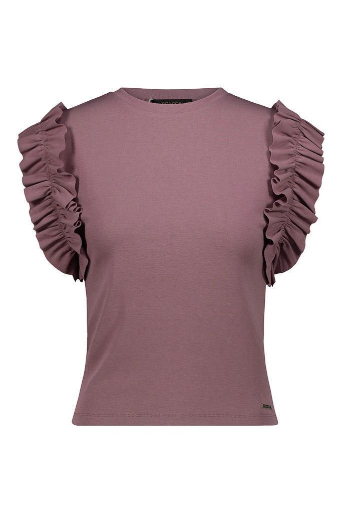 camiseta de punto de algodón con volantes fruncidos en las sisas