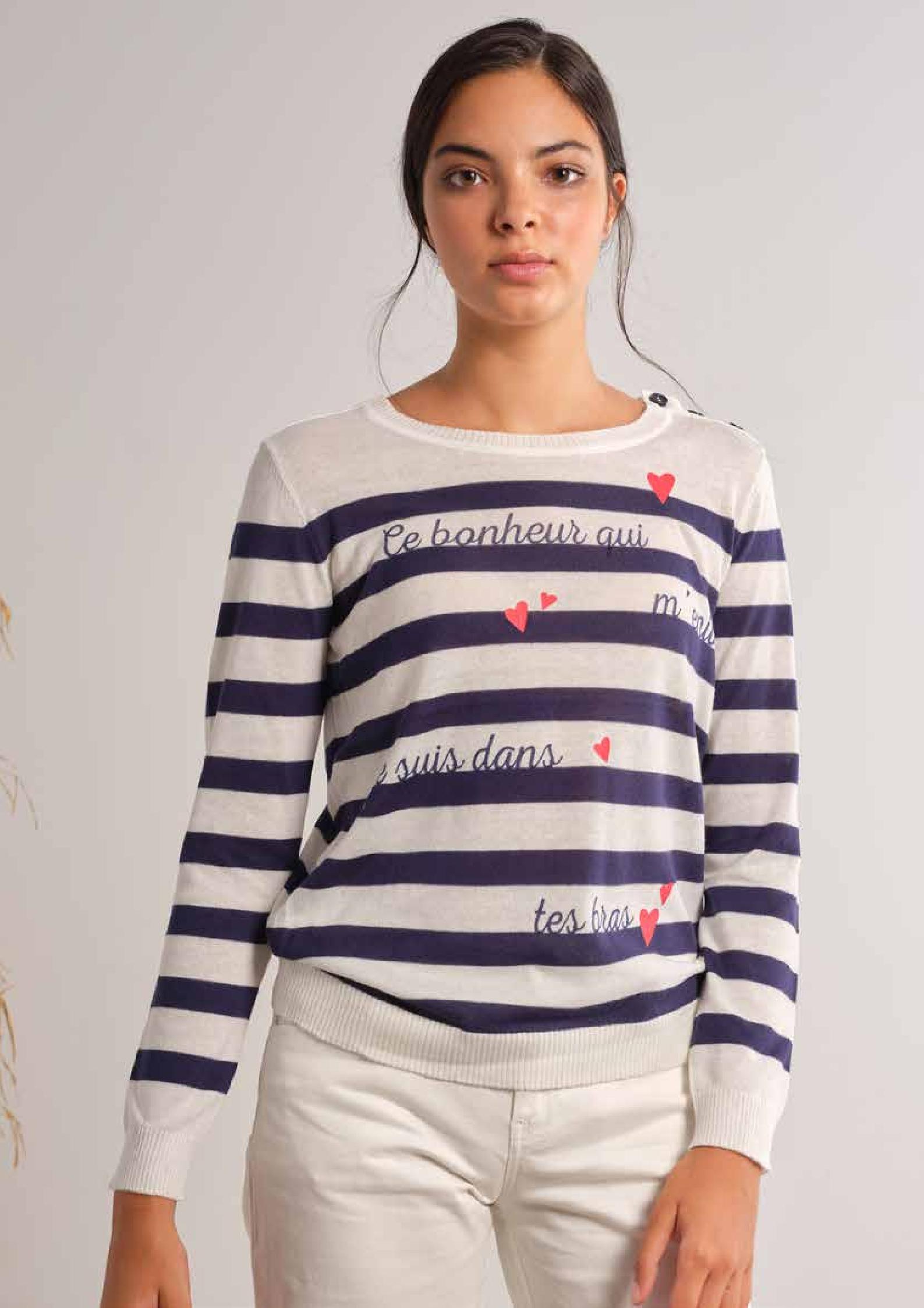 Jersey de punto marinero con mensaje
