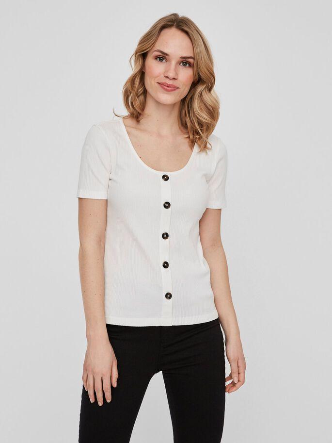camiseta con botones blanca y canale