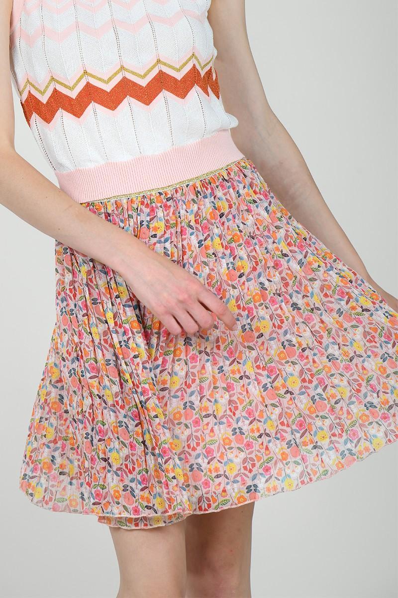 Falda de tiro alto con estampado floral