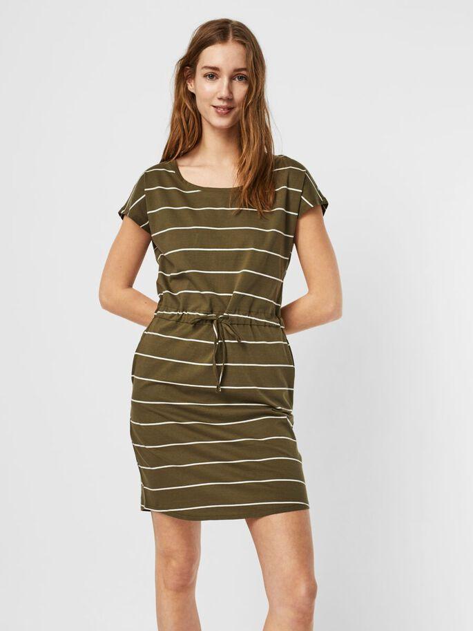 vestido corto de manga corta de rayas verde