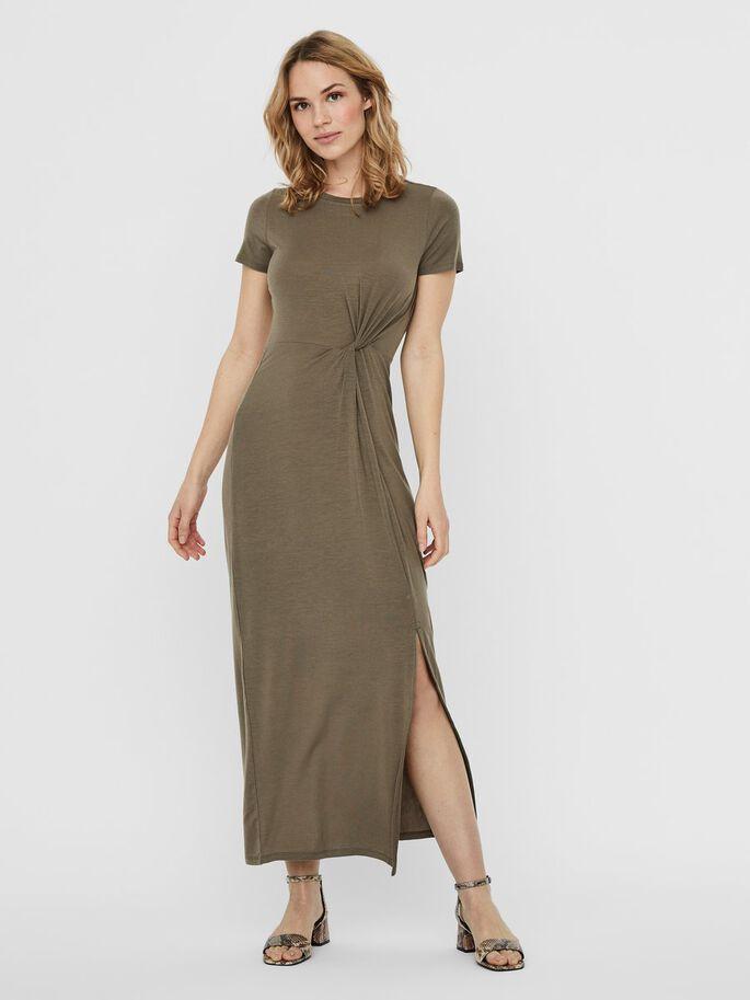 vestido largo verde con abertura a un lado
