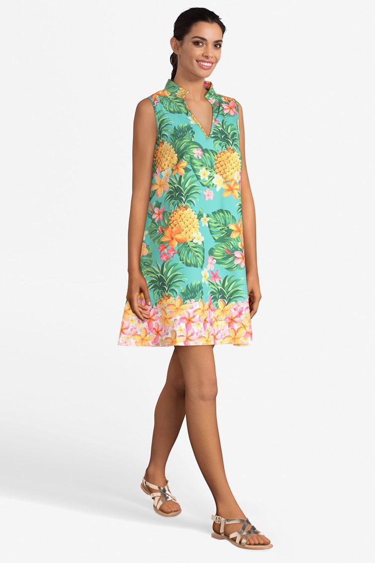 vestido sin manga, con escote en V y estampado de flores y piñas