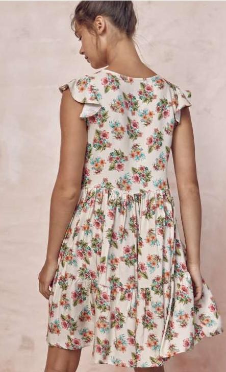 vestido corto de tirantes con estampado de flores, volantes en los hombros y falda