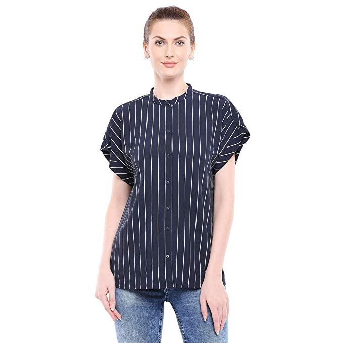 Camisa de rayas azul marino y blanco