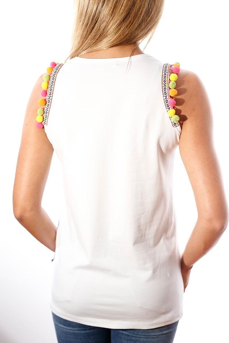 camiseta de tirantes blanca con calavera