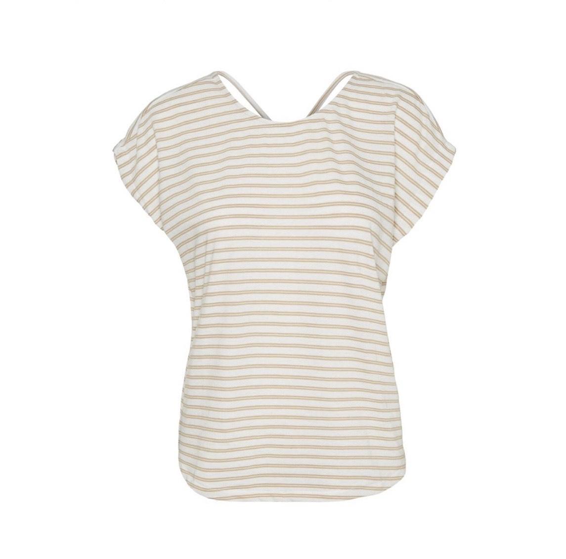 camiseta de rayas con escote en la espalda