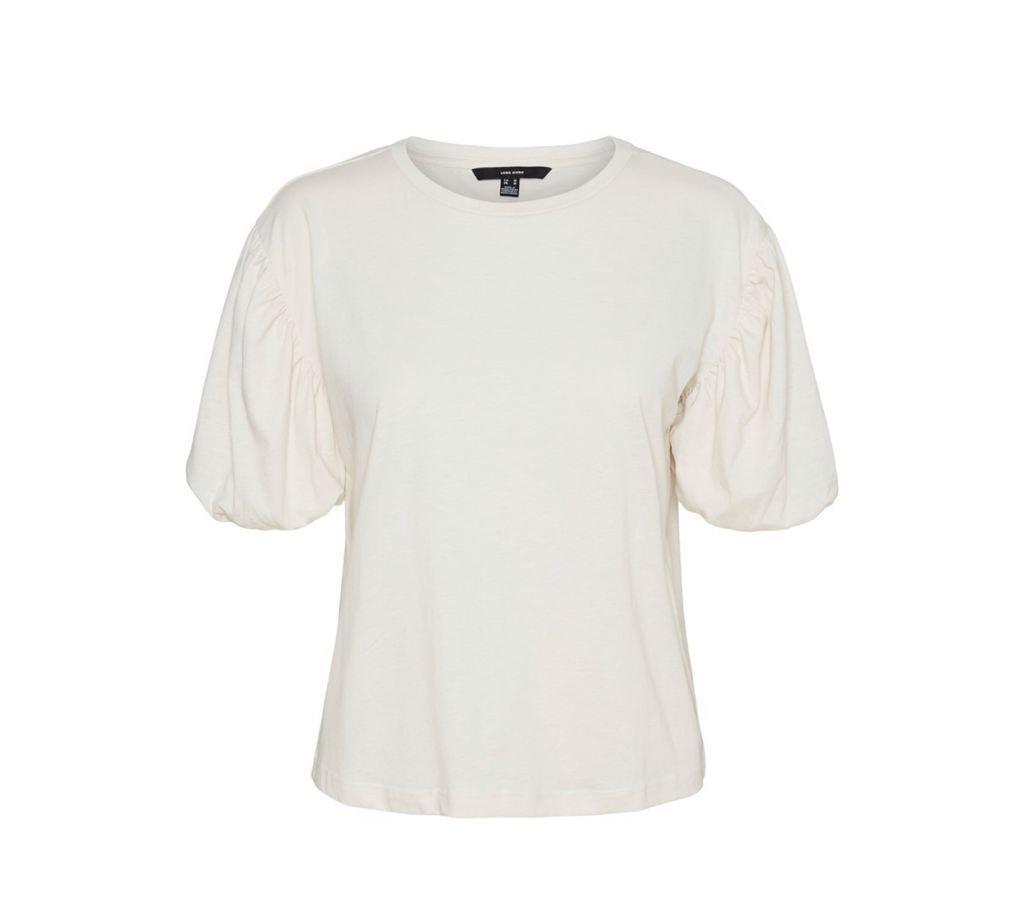 camiseta manga corta abullonada color laurel