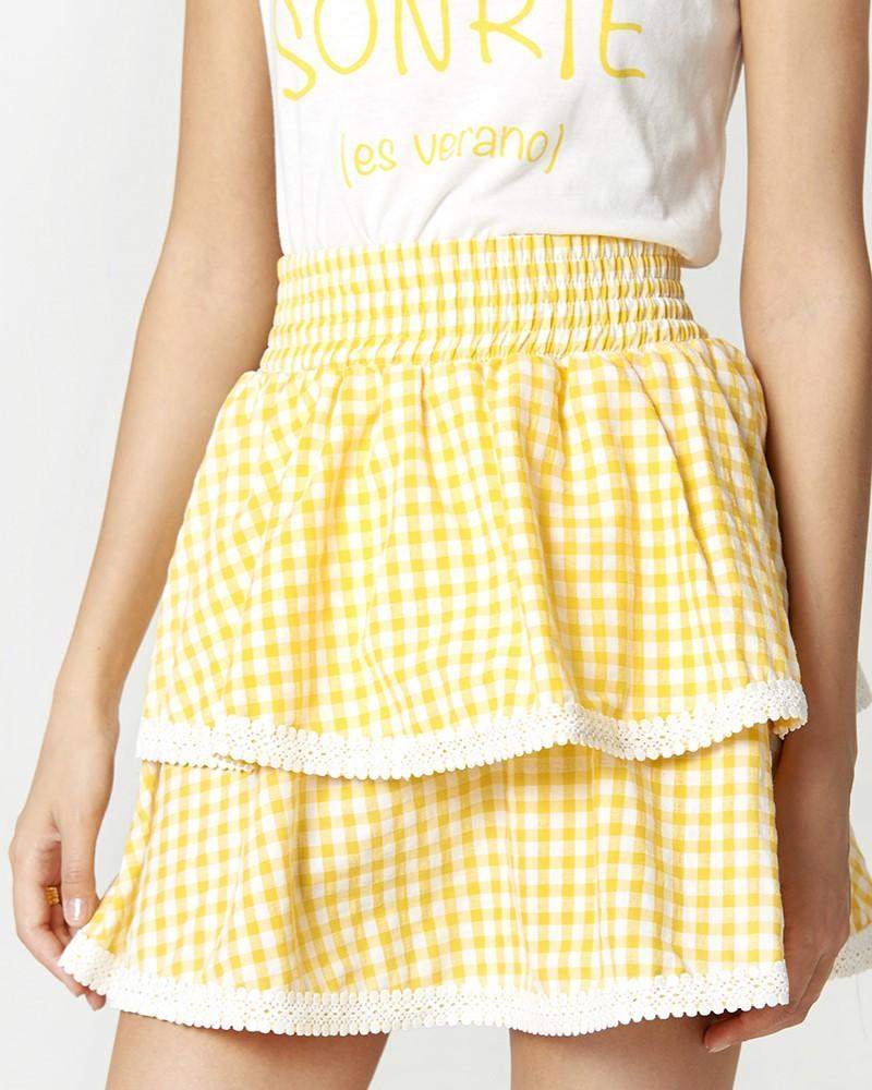 Falda con volantes y cuadros vichy amarillo