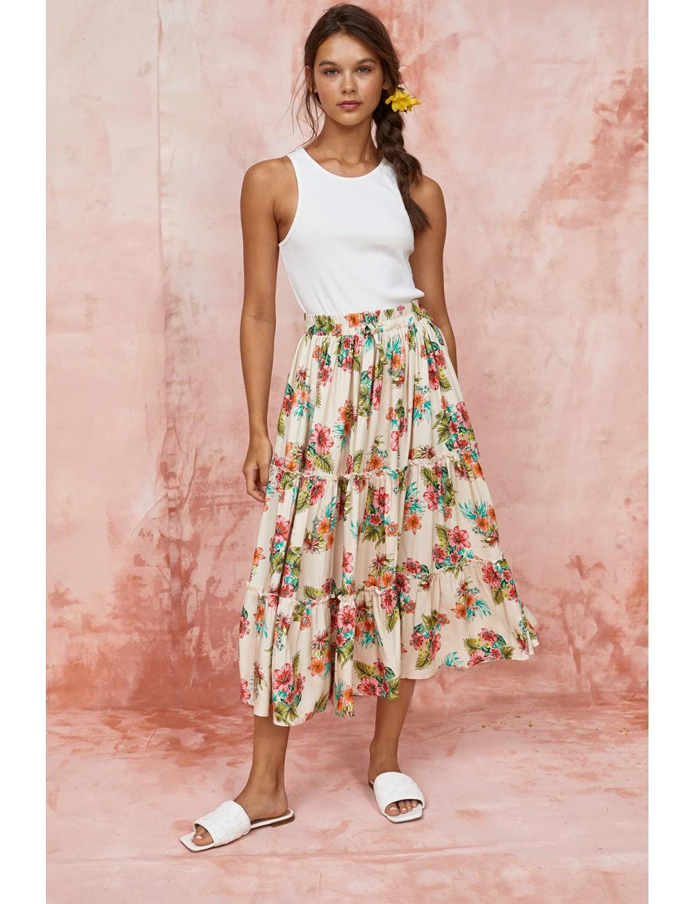 Falda midi  con goma en la cintura y estampado de flores