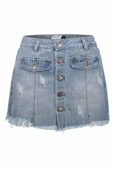 minifalda vaquera con botones y bolsillos