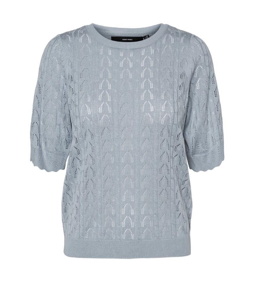 jersey de punto azul de canalé