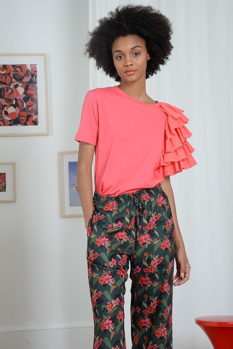 Pantalón largo con estampado floral y tiro alto