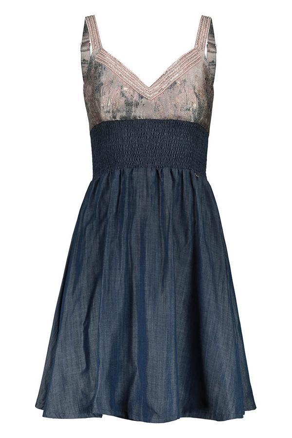 vestido de tirantes midi con top jacquard