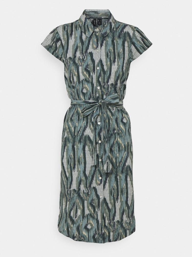 vestido de manga corta camisero estampado
