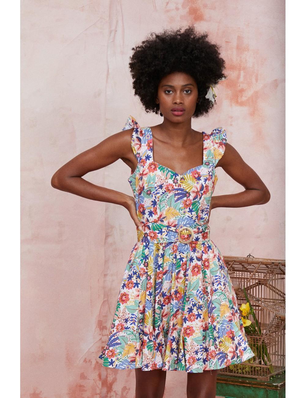 vestido de tirantes corto con estampado tropical y volantes