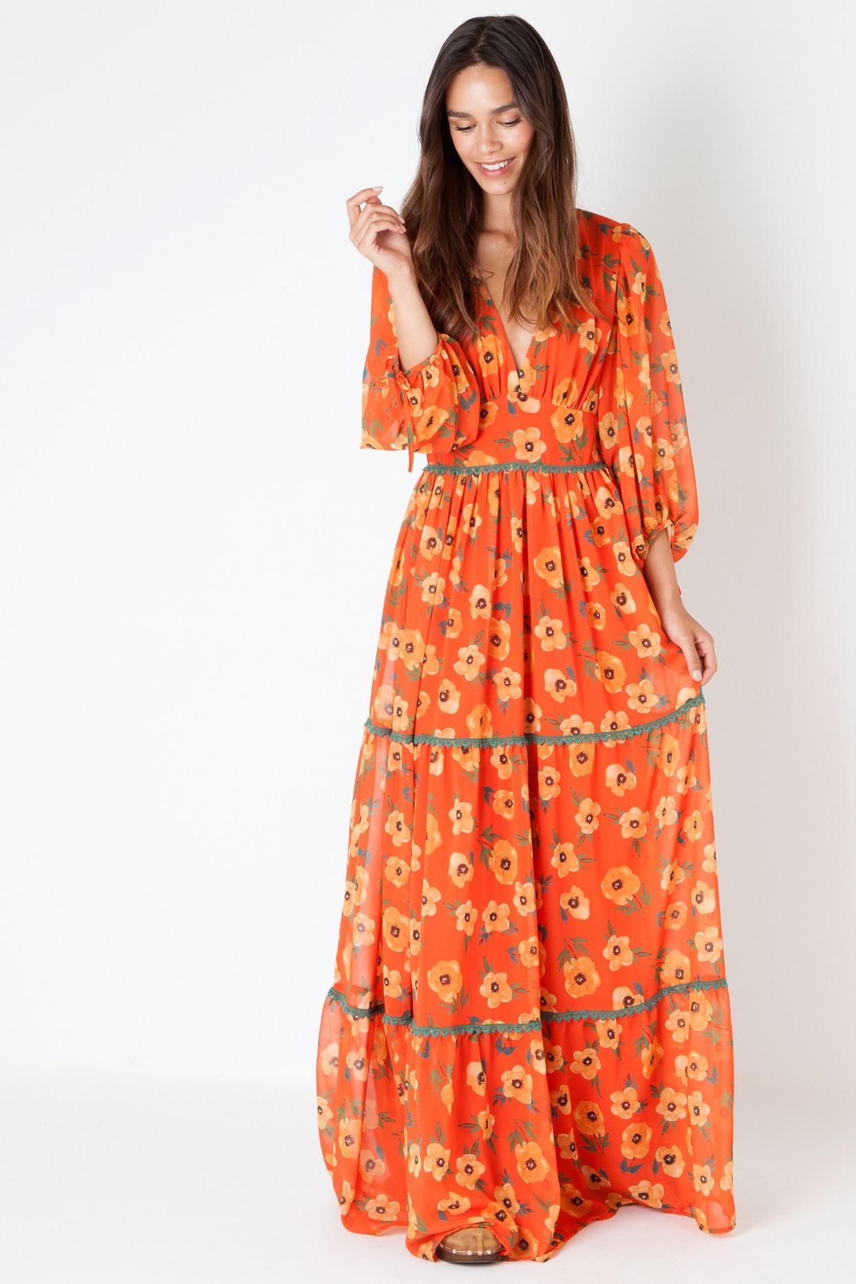 vestido largo con estampado de flores naranja