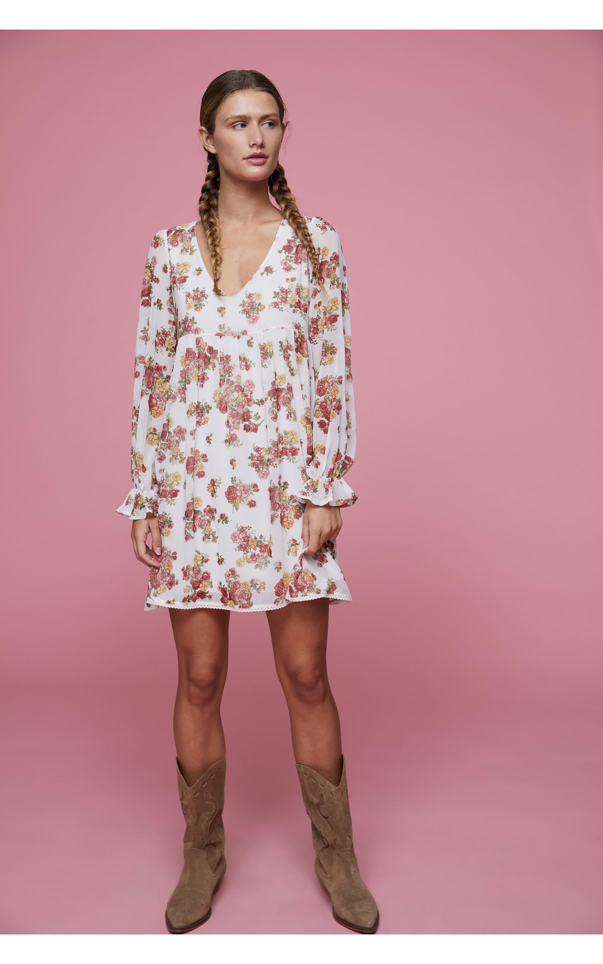 vestido estampado de flores de manga larga con goma en el puño