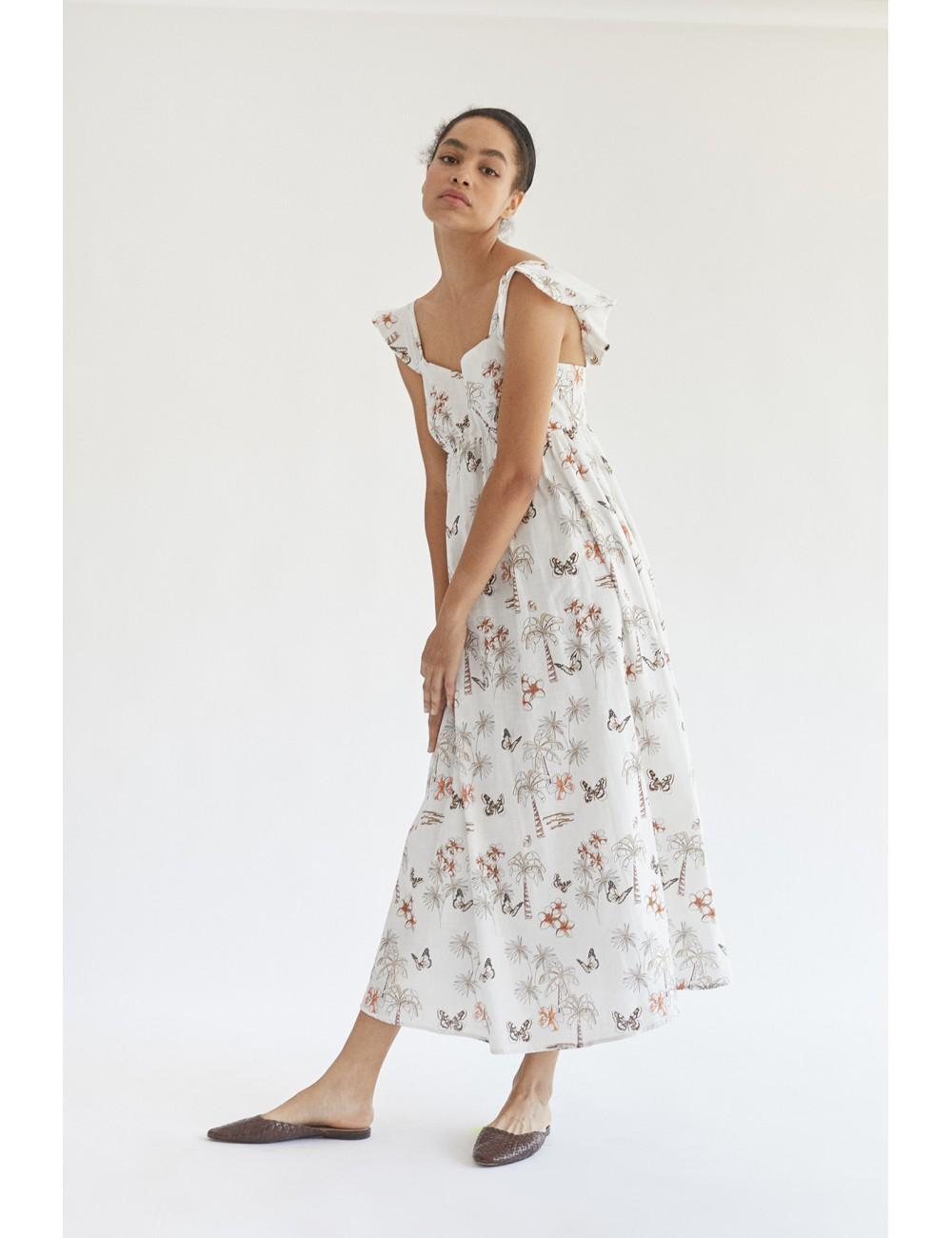 vestido largo con estampado tropical