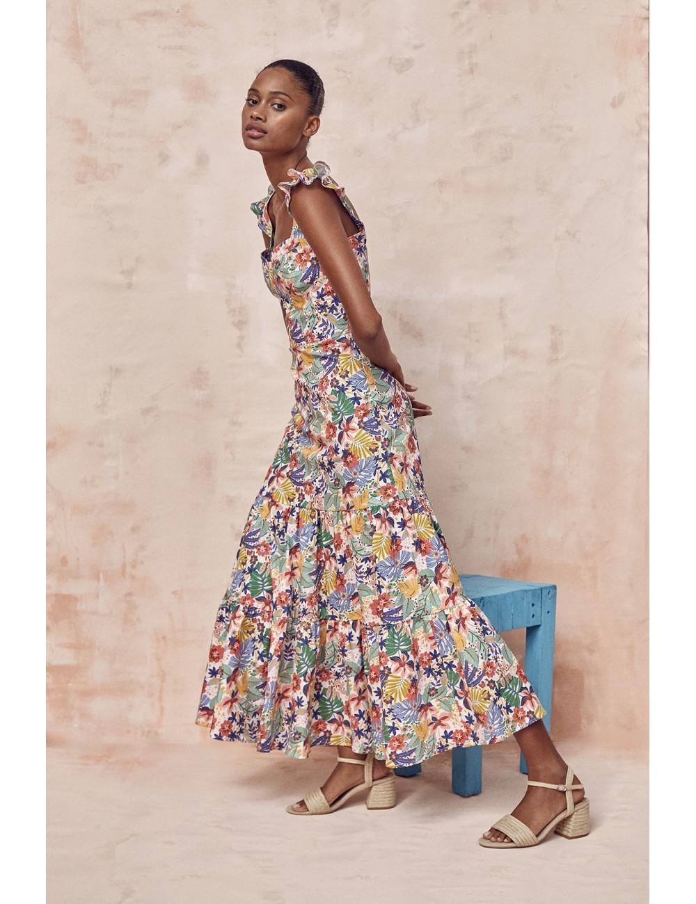 vestido de tirante fino largo con estampado floral y volantes en el hombro