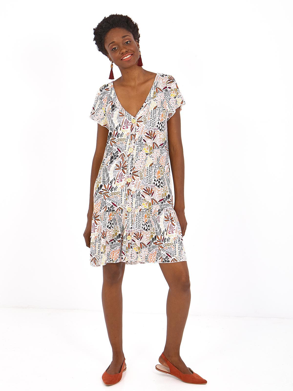 vestido de punto Nissa, con escote cuello pico , bajo con volante