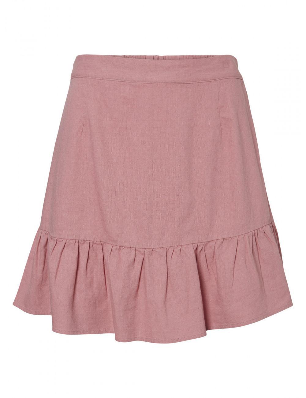 Falda rosa con volante