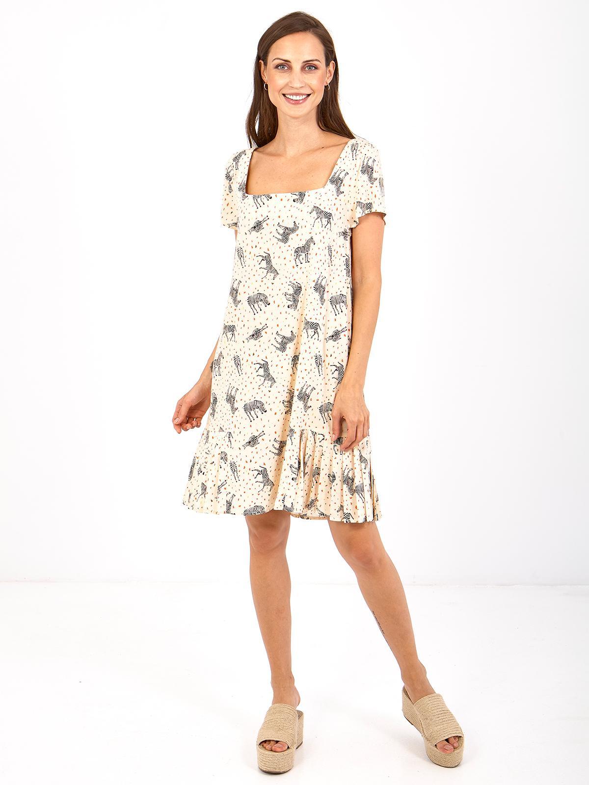 vestido de manga corta con estampado de cebras