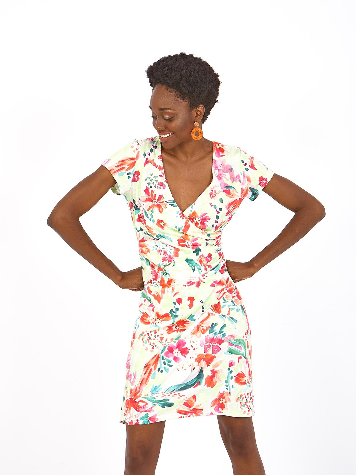 vestido manga corta cruzado, co estampado de flores